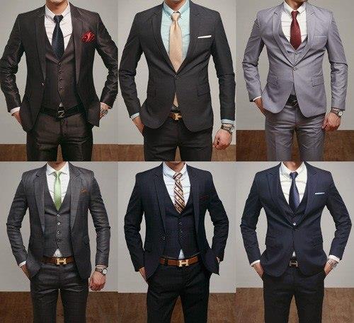 разные костюмы и галстуки