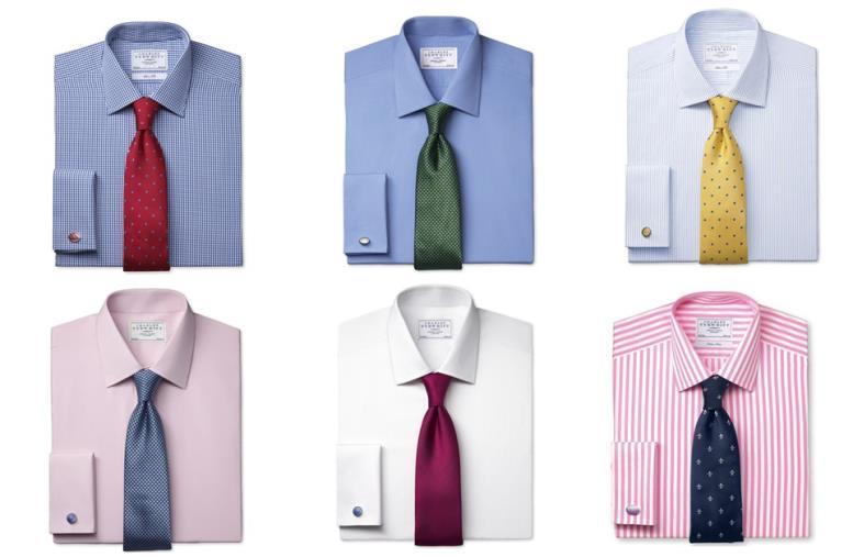 однотонные рубашки и галстуки