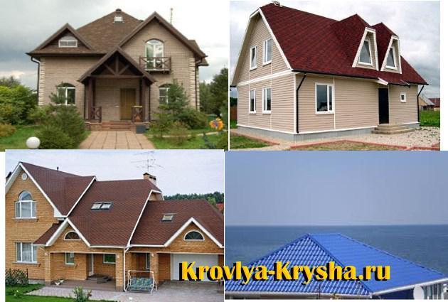 Образцы оформления крыш разными цветами