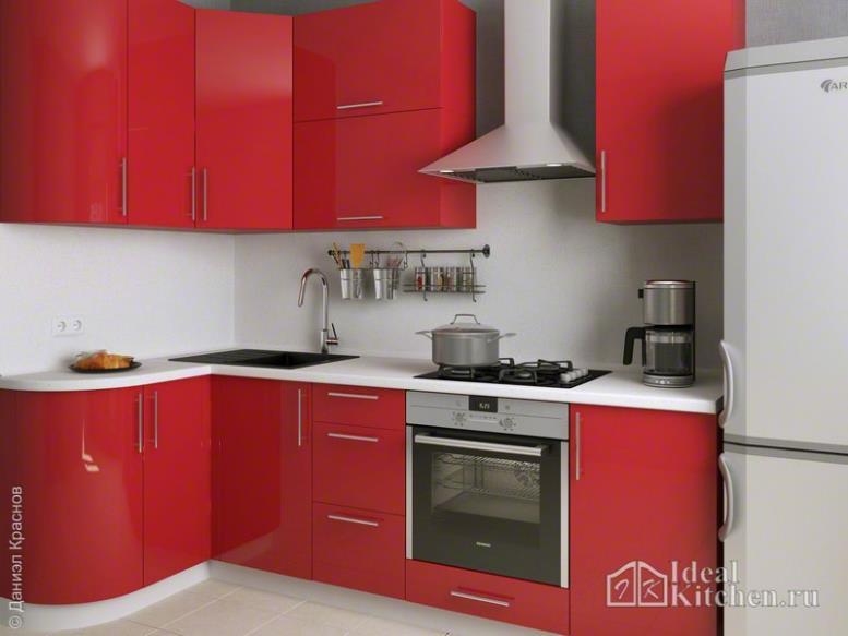 маленькая угловая красная кухня в интерьере
