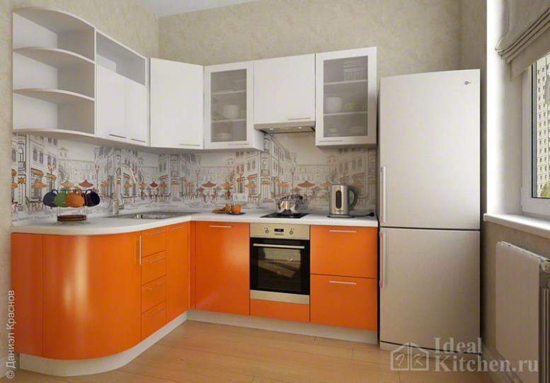 Оранжевые кухни - 62 фото