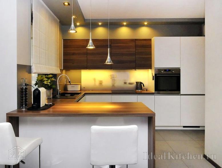 кухонный гарнитур с полуостровом из МДФ в стиле модерн