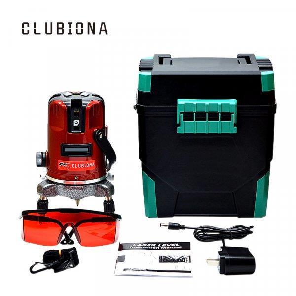 Набор: лазерный уровень, бокс, очки, сетевой кабель CLUBIONA (с функцией наклона)