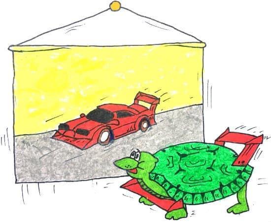 Черепаха хочет стать Феррари. Быстрая черепаха.