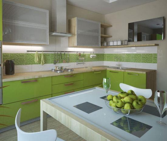 Кухонная мебель зеленого цвета.
