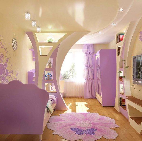 Перегородки для зонирования пространства в комнате для школьницы