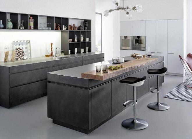 серый пол на кухне