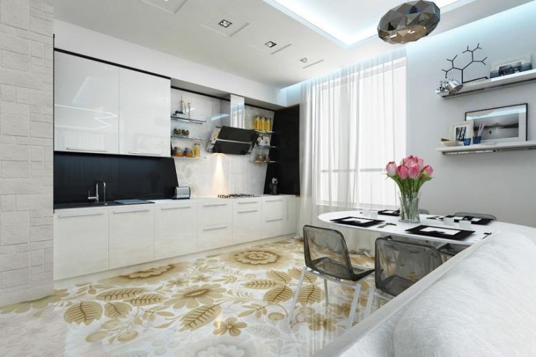 Выбирая линолеум нужно ориентироваться на мебель и другие детали интерьера