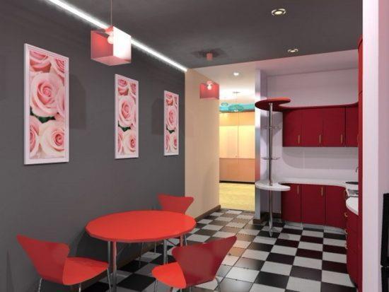Красно-черно-серая кухня