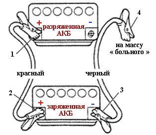 как прикуривать аккумулятор