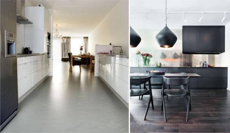 Линолеум в интерьере кухни в стиле хай тек и минимализм