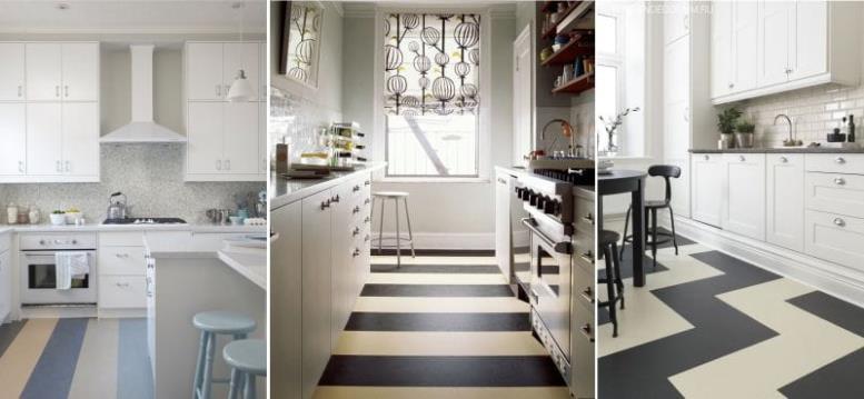 Полосатый линолеум в интерьере кухни