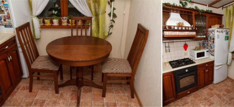 Линолеум под плитку на кухне в классическом стиле