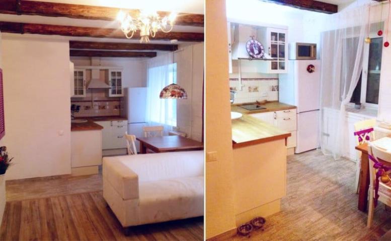 Линолеум на кухне в стиле прованс