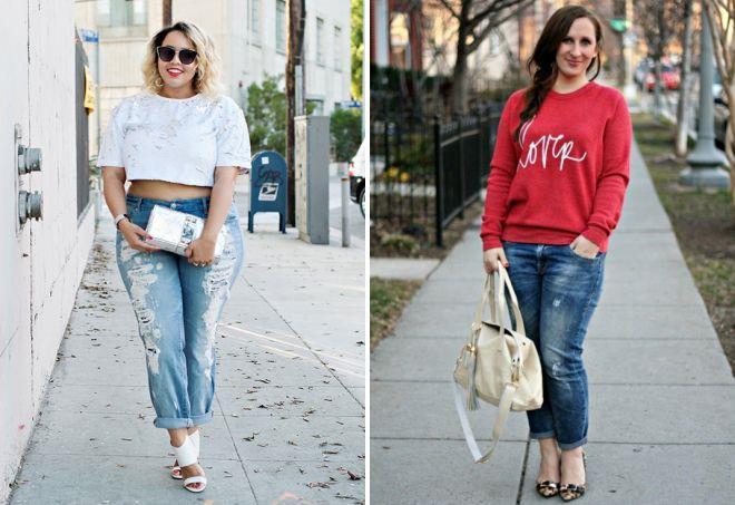 образ с джинсами для полных женщин