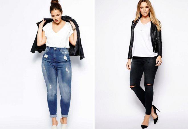 рваные джинсы для полных