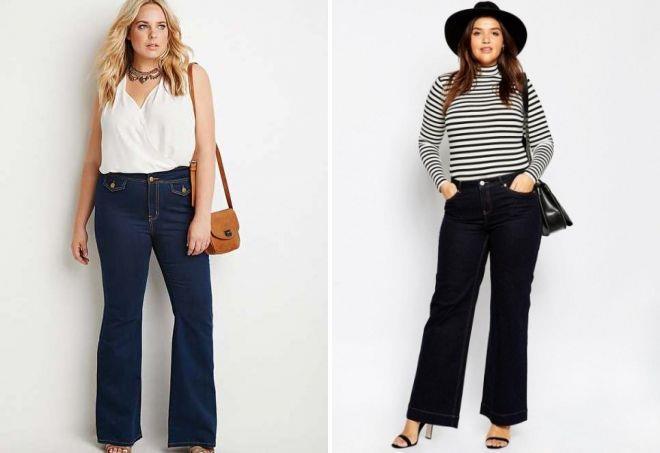 джинсы клеш для полных женщин