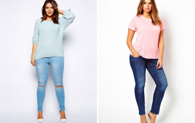 узкие джинсы для полных женщин