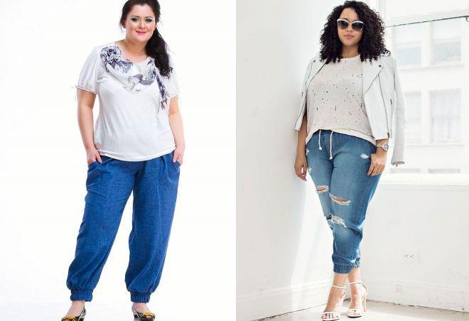 джинсы на резинке для полных женщин