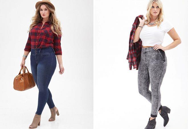 джинсы с высокой талией для полных женщин