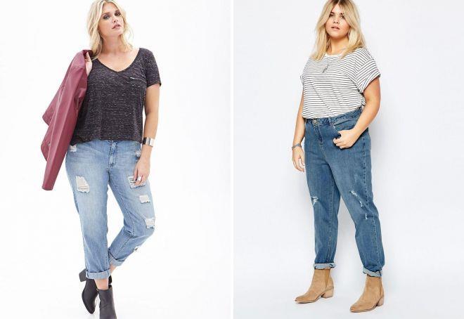 широкие джинсы для полных женщин