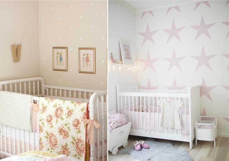 Обои в интерьере детской комнаты для новорожденной девочки