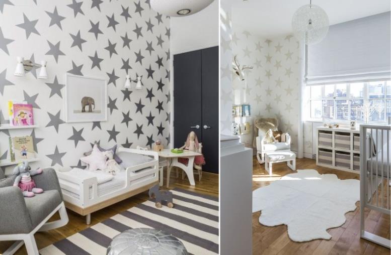 Детская комната с обоями в звездочку