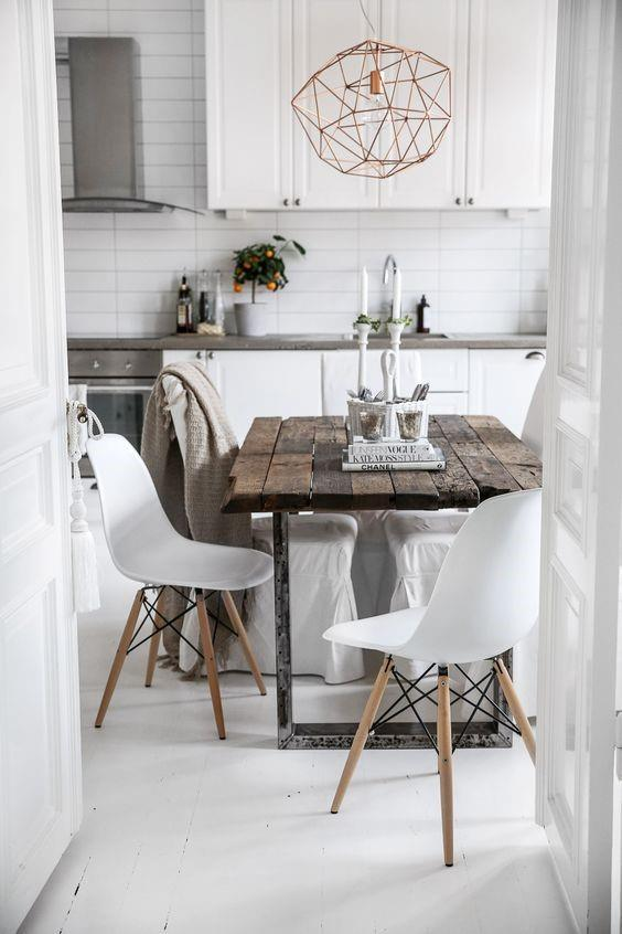 Интерьер в скандинавском стиле. Столовая и кухня.