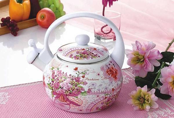 Эмалированный чайник с рисунком