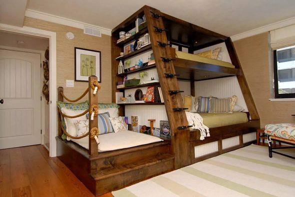 деревянный домик кровать