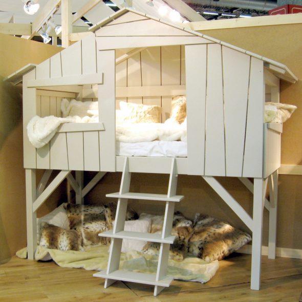 детская кровать домик белого цвета