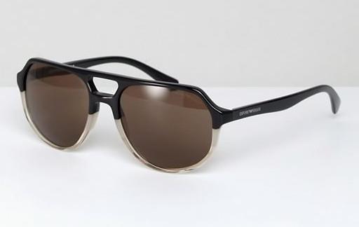 Солнцезащитные очки-авиаторы в черной оправе Emporio Armani