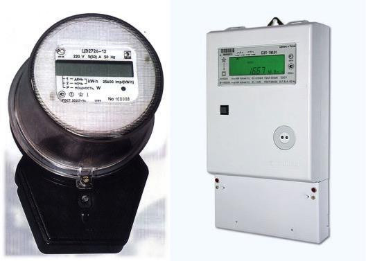 Индукционный и электронный счетчики электроэнергии