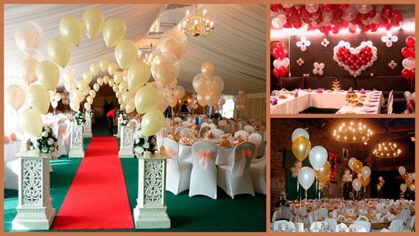 На свадьбах используют все три типа шаров: металлик золотой, белый и жемчужный пастельный и кристалл для композиции «шарик в шарике» (как видно на картинке слева)