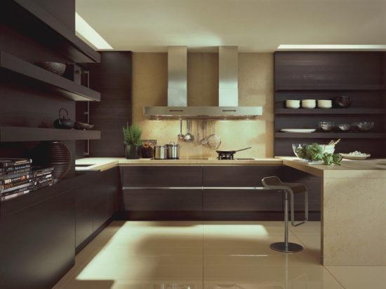 Идеи оформления кухни в коричневой гамме