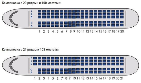 Superjet 100 Азимут - компоновка салона самолета