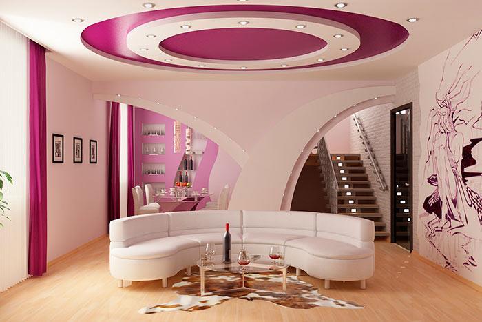 Из гипсокартона на потолке можно делать различные узоры, ярусы
