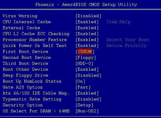 Установка загрузки с диска в Award BIOS