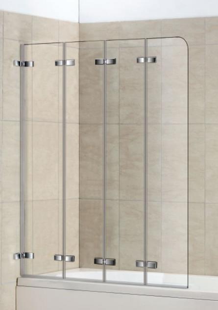 Стеклянная шторка на ванну складная в четыре секции