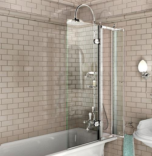 Стеклянная короткая штора для ванной