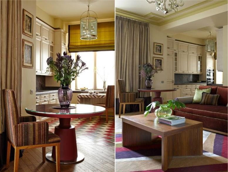 Красно-бежевая кухня-гостиная