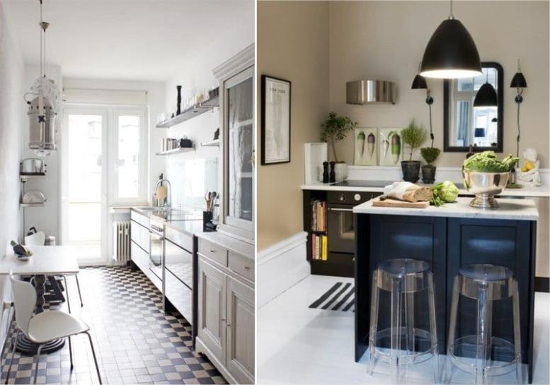 Кухни в современном стиле в бежево-черной гамме
