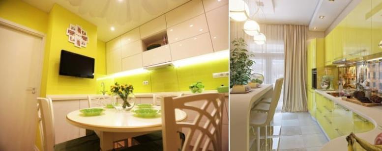 Глянцевая желто-бежевая кухня