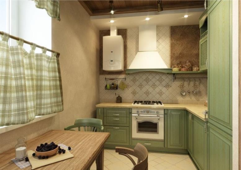 Маленькая бежево-зеленая кухня