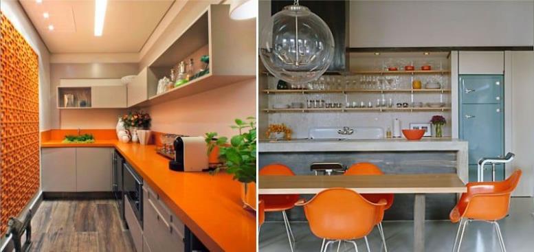 Бежево-оранжевая кухня