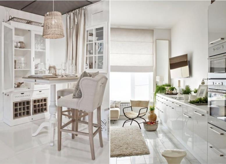 Белый и бежевый в интерьере кухни