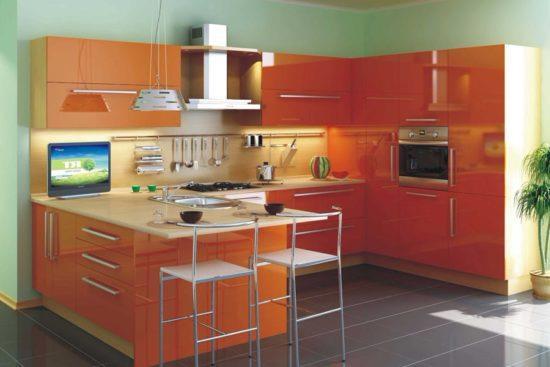 Обои для оранжевой кухни