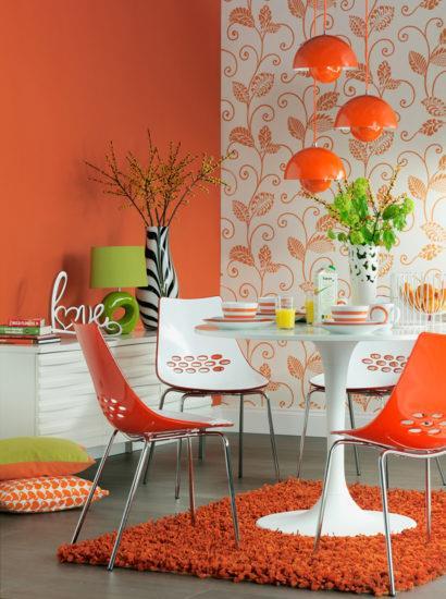 Органичные цветовые комбинации на оранжевой кухне