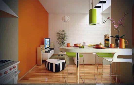 Бежевый и оранжевый на кухне