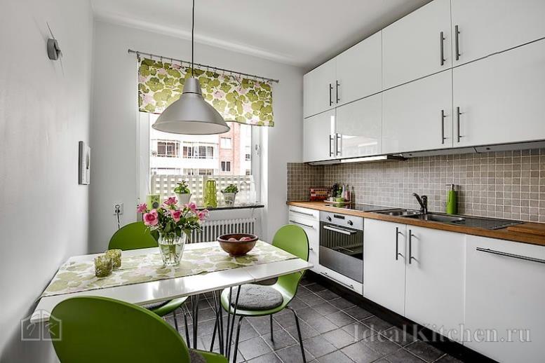 дизайн прямого кухонного гарнитура модерн из МДФ